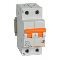 Interruptor Automatico Legrand RX3 1P+N 16A Curva C Maneta Naranja