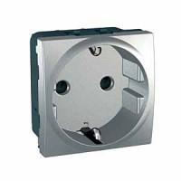 Base de Enchufe con Toma de Tierra Lateral Aluminio EUNEA UNICA TOP