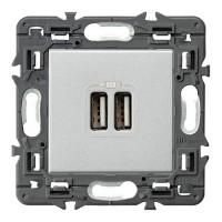 Cargador Doble USB Valena Next Aluminio