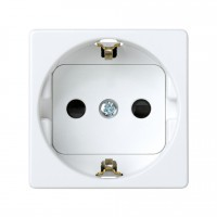 Enchufe 2P + TT lateral Schuko + seguridad Simon 27 Blanco