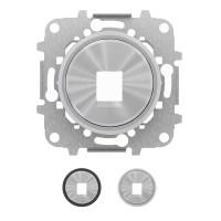 Tapa 1 conector Datos / Teléfono  Niessen SKYMOON 8618.1 (Cromo y Cristal Negro)