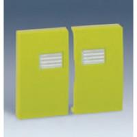 Tecla Doble con Visor SIMON 44 AQUA (Aluminio, rojo o verde pistacho)